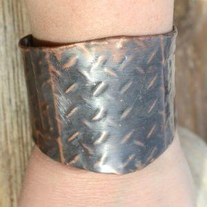Solid Copper Armor Industrial Cuff Bracelet Unisex